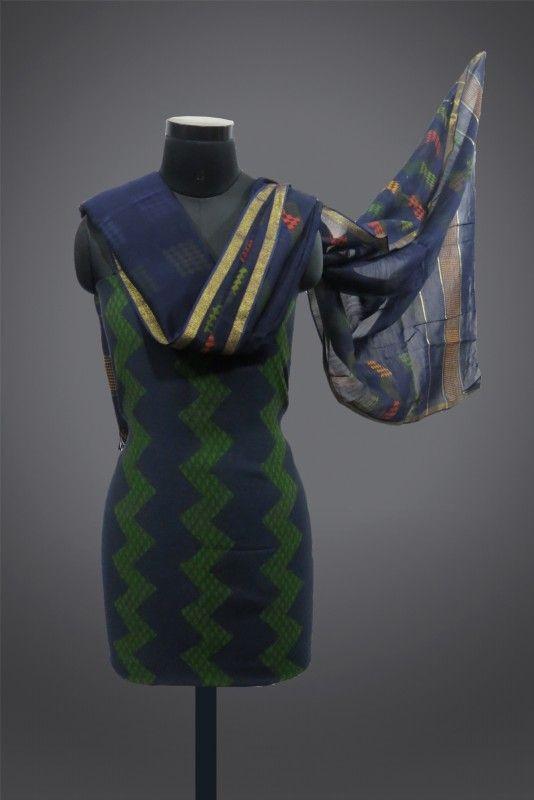 3 Piece Chanderi Silk & Cotton Block Print Salwar Suit