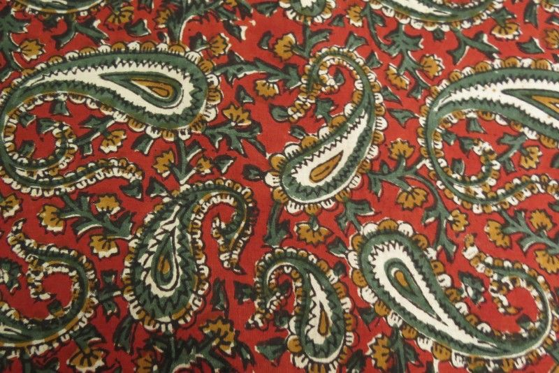 Red Green Paisley Cotton Fabric By The Yard