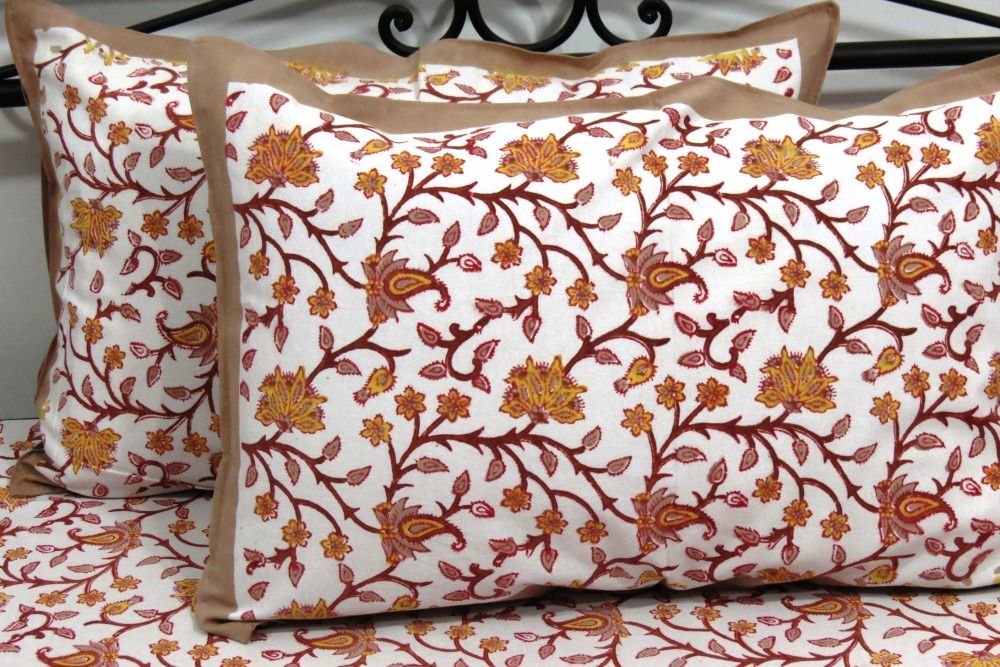 Yellow Brown Floral Wholesale Bed Sheets