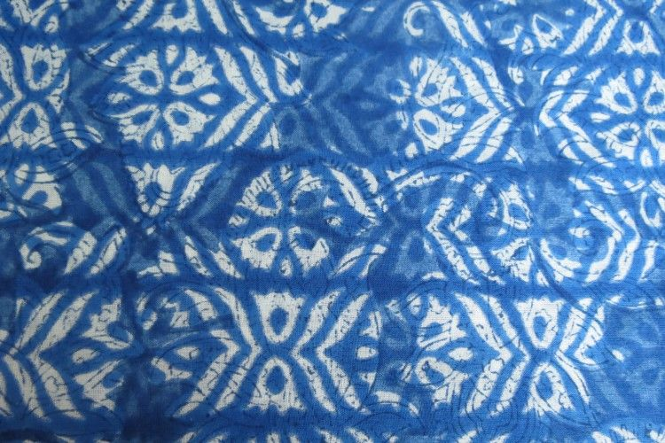 Indigo Dyed Block Printing On Fabric