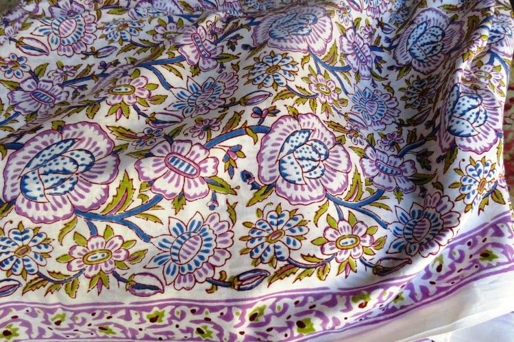 Purple Green Floral Cotton Fabric By The Yard