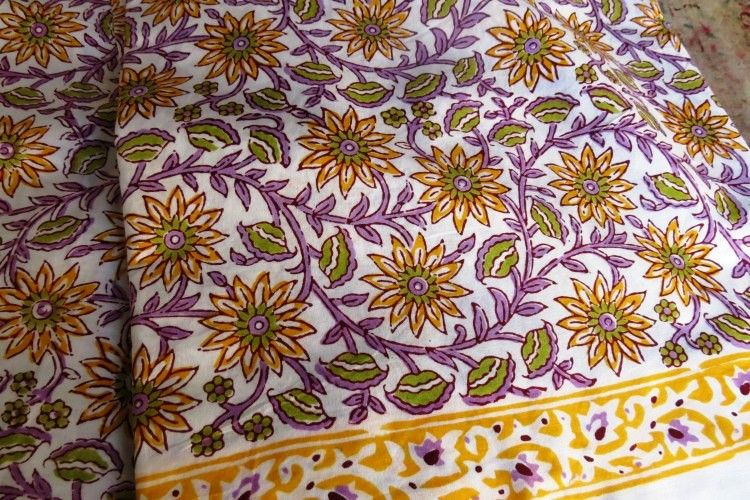 Sunflower Design Indian Cotton Fabric By The Yard