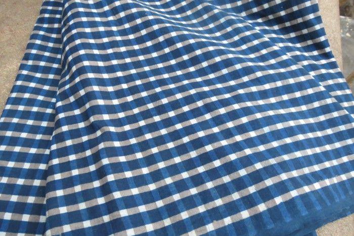 Indigo Checks Cotton Fabric By The Yard