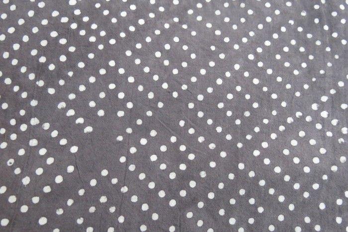 Grey White Diamond Dots Indian Cotton Fabric