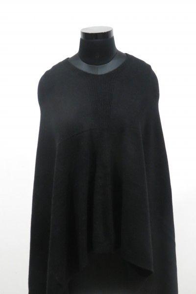 Pure Black Kashmir Wool Poncho