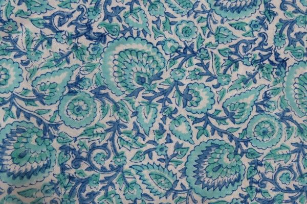Green Blue Floral Rayon Fabric By The Yard