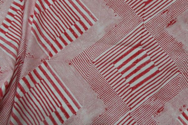 Red Block Printed Stripes Cotton Fabric