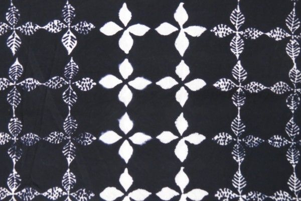Black And White Floral Block Print Fabric
