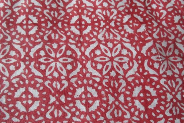 Pink And White Floral Block Print Fabric