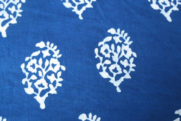 Indigo And White Floral Block Print Fabric