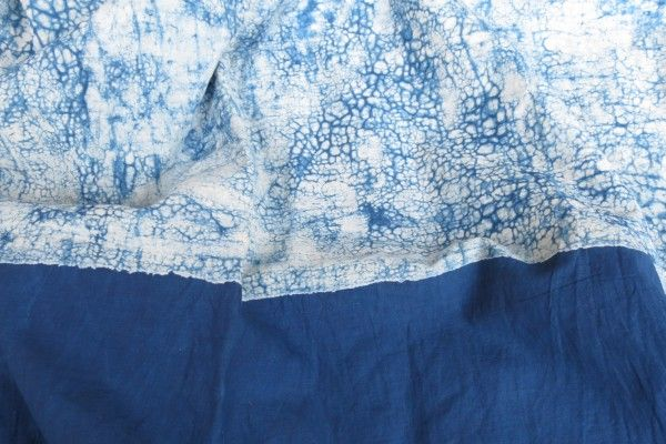 Indigo Crack And Plain Fabric