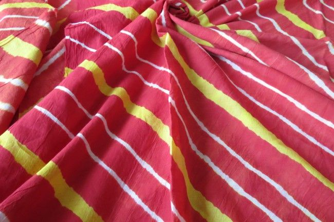 Red And Yellow Batik Fabric