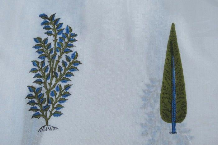 Blue Green Floral Leaf Block Print Fabric