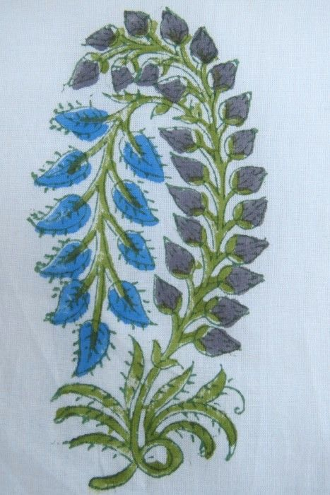 Blue Green Blossom Block Print Fabric