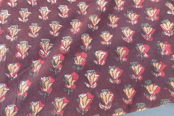 Brown Maroon Floral Block Print Fabric