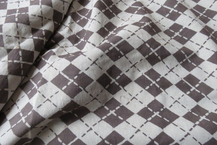 Dark Grey And White Leaf Diamond Checks Print Fabric