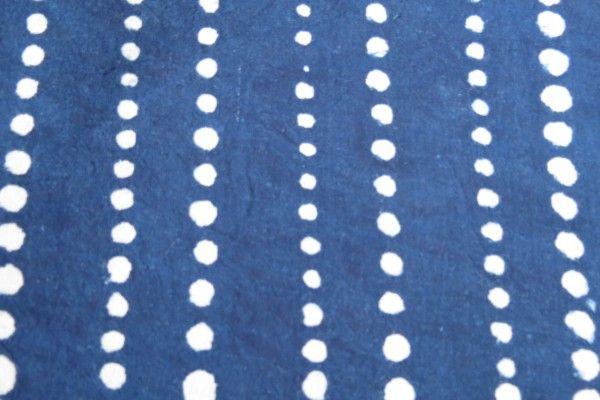 White Dotted Indigo  Dyed Fabric