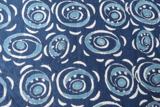 Blue Indian Block Print Fabric