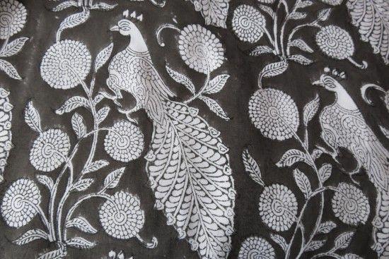 Dark Grey And White Viscose Peacock Block Print Fabric