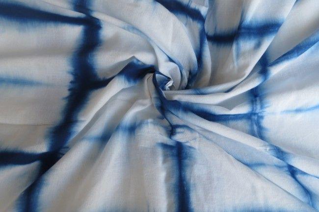 White And Blue  Mulmul Cotton Shibori Print Fabric