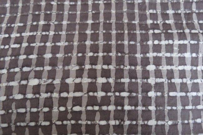 Dark Grey Checks Block Print Fabric