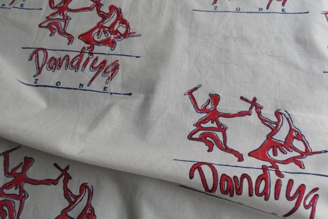 Red And White Dandiya Print Cotton Fabric By The Yard