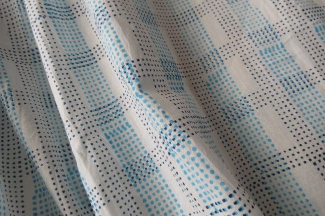 Blue Dotted Block Print Cotton Fabric By The Yard