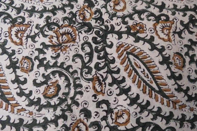 Green And Black  Cotton Paisley Print Fabric