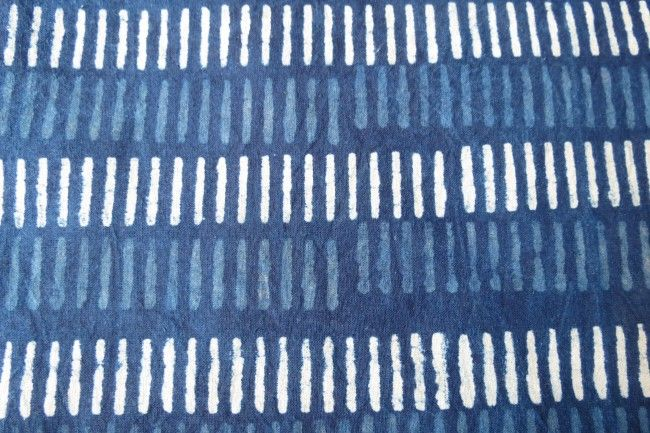 Indigo And White Cotton Upholstery Fabric