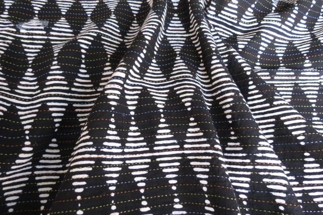 White And Black Multicolor Kantha Diamond Striped Fabric