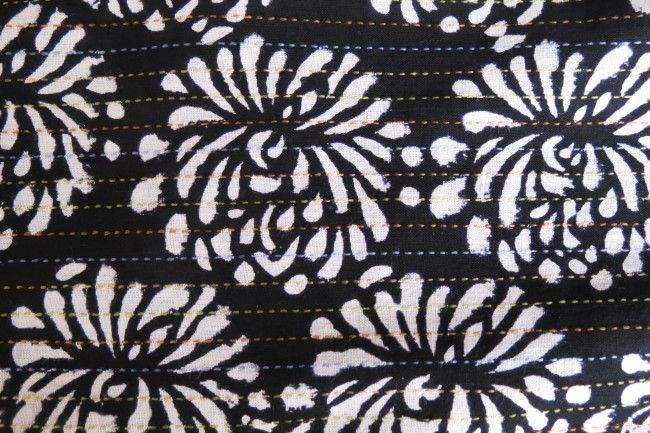 White And Black Multicolor Kantha  Floral Block Print Fabric