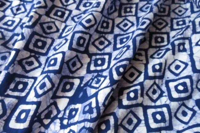 Blue Squares Geometry Rayon Fabric