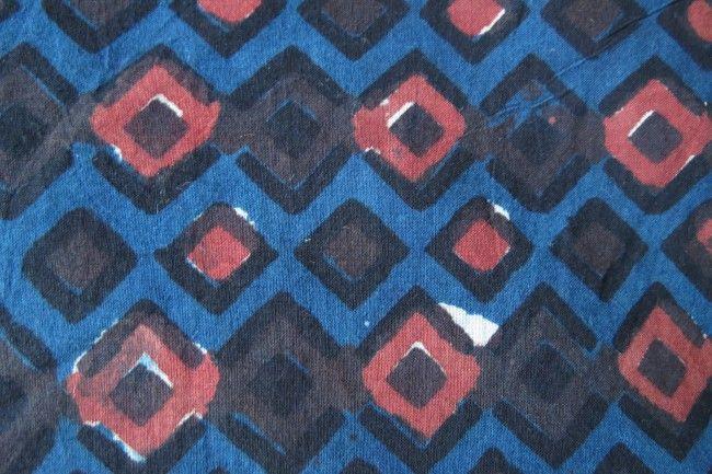 Blue Diamonds Bagru Cotton Fabric