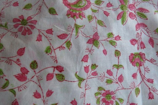 Pink And Green Floral Cotton Fabric