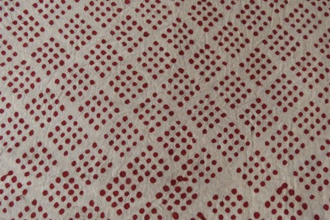 Red Dotted Block Printed Cotton Fabric