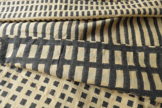 Yellowish Green Four In One Block Print Cotton Fabric