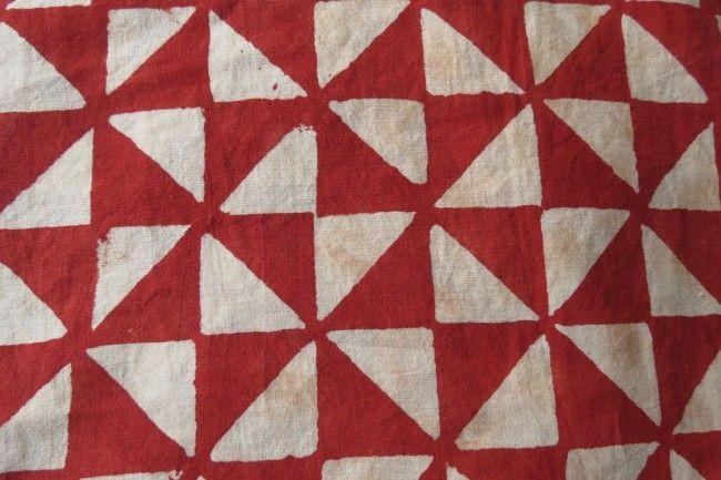 Red Triangle Bagru Block Print Cotton Fabric