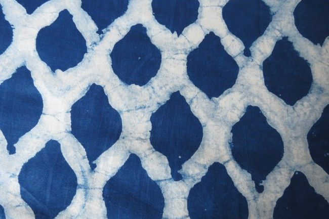 Indigo Block Printed Modal Fabric