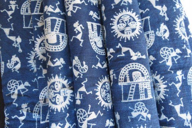 Indigo Warli Upholstery Khari Cotton Fabric