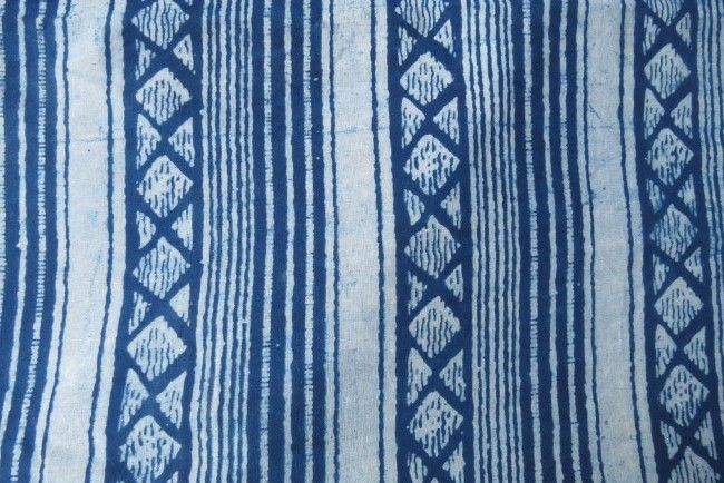 Indigo Striped Block Print Cotton Fabric