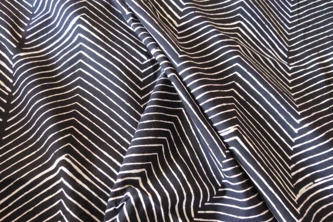 Black And White Zigzag Block Print Cotton Fabric
