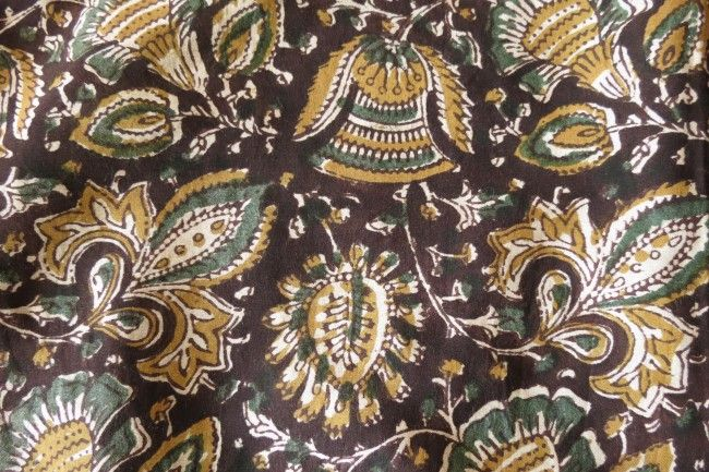 Black Floral Block Printed Kalamkari Modal Fabric