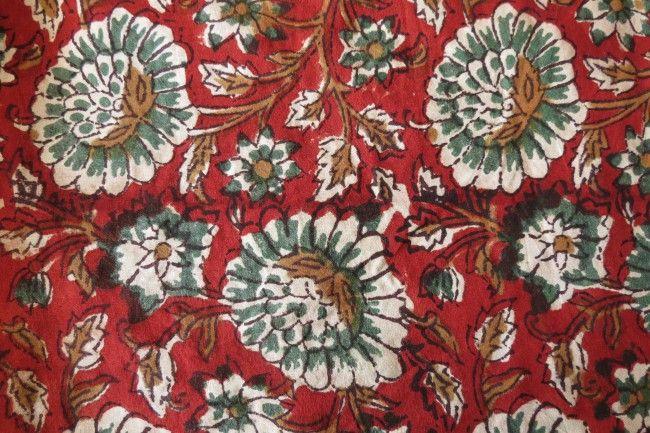 Red Block Printed Kalamkari Cotton Fabric