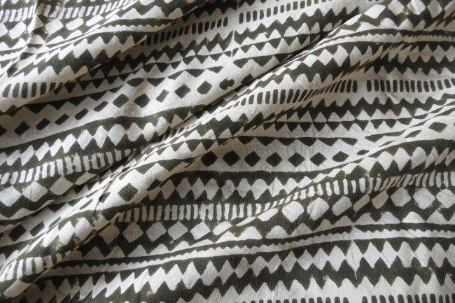 Olive Green Designer Block Printed Modal Fabric