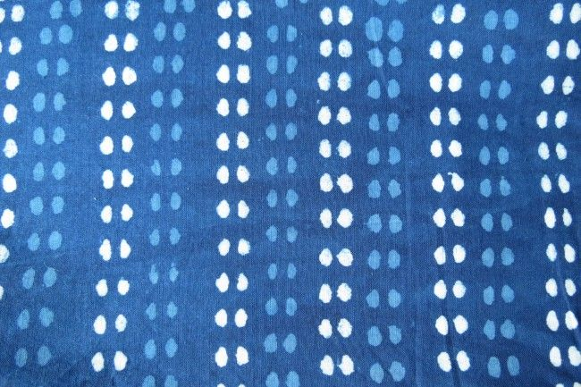 Indigo And White Dotted Block Print Cotton Fabric