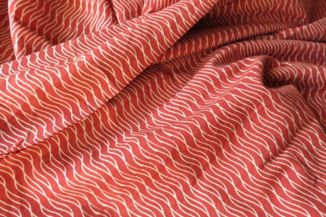 Red And White Bagru Block Print Cotton Fabric