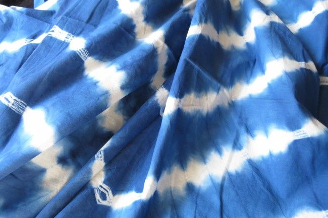 Blue And White Mulmul Shibori Print Fabric