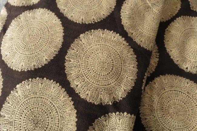 Black And Cream Upholstery Khari  Cotton Fabric