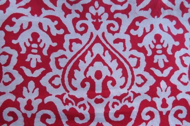 Red Designer Block Printed Modal Fabric