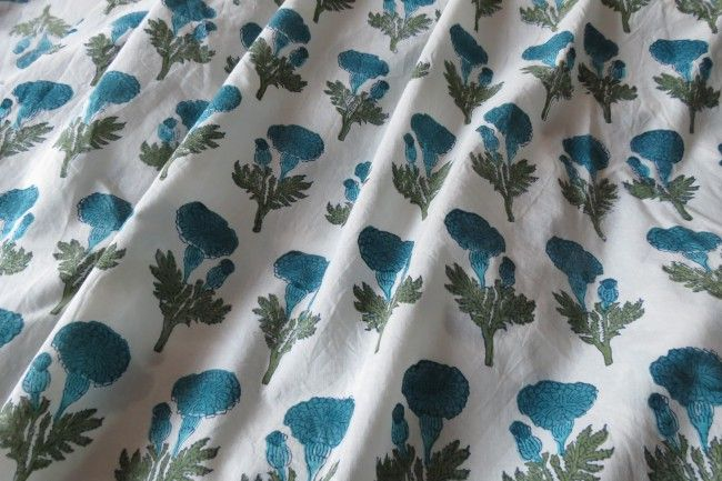 Sky Blue Floral Block Print Cotton Fabric